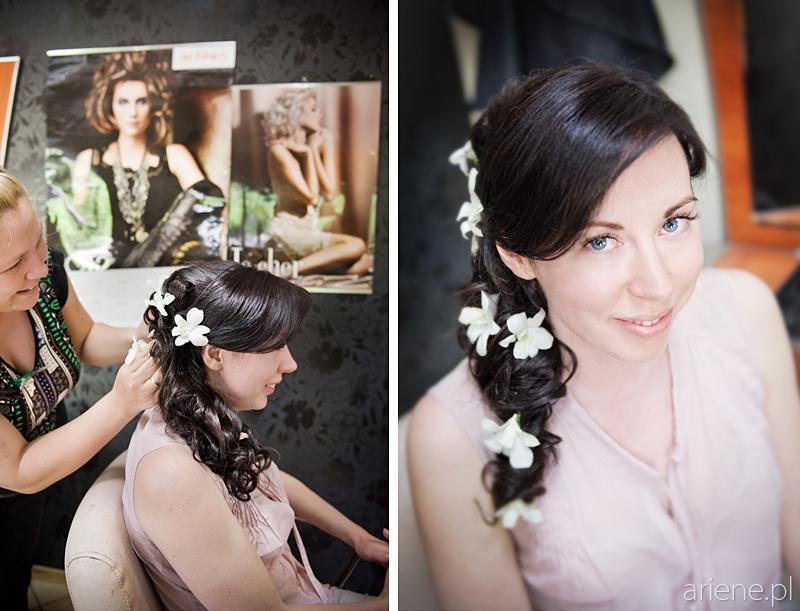 przygotowania do ślubu, czesanie fryzury