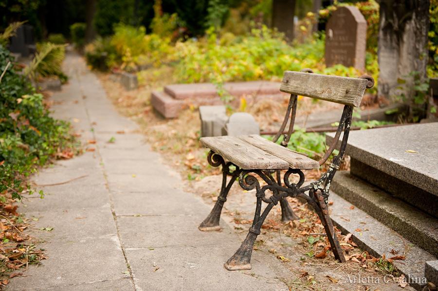 ławeczka na cmentarzu