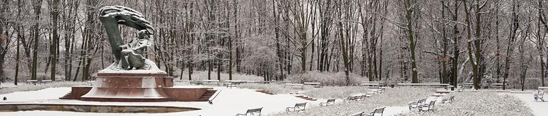 Łazienki Królewskie w zimie