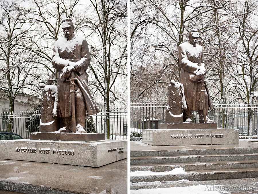 zimowy pomnik Piłsudskiego