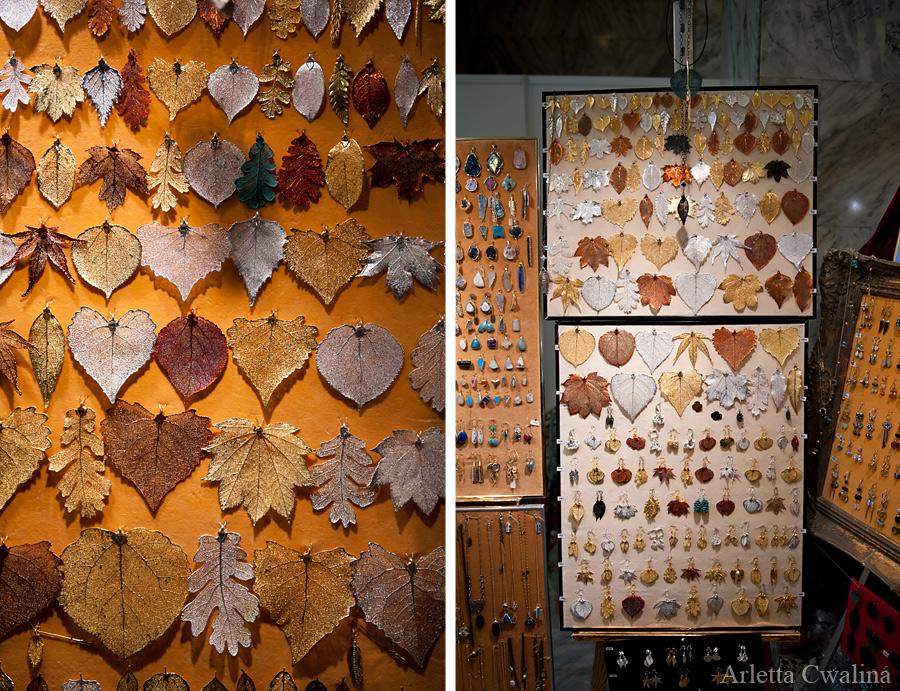 metalowe liście biżuteria