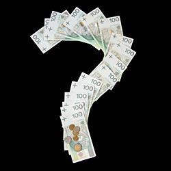 znak zapytania z banknotów